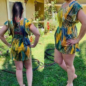 Free People Yellow & Green Lace Button Mini Dress